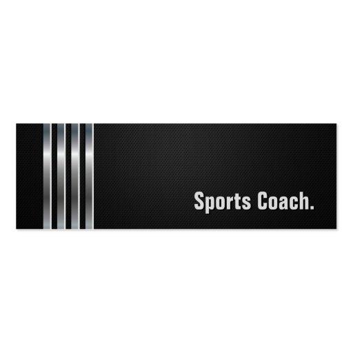 Sports Coach - Black Silver Stripes Business Card Template