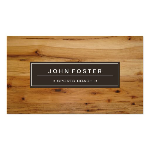 Sports Coach - Border Wood Grain Business Cards