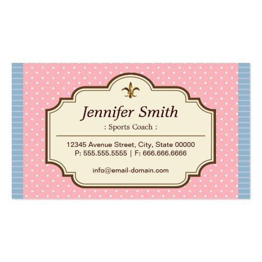 Sports Coach - Cute Polka Dots Business Card