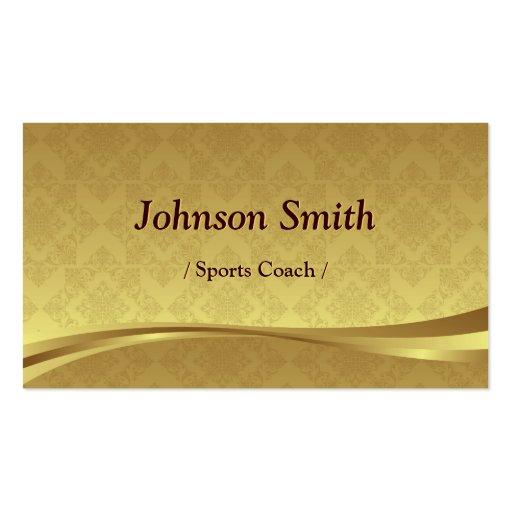 Sports Coach - Elegant Gold Damask Business Cards