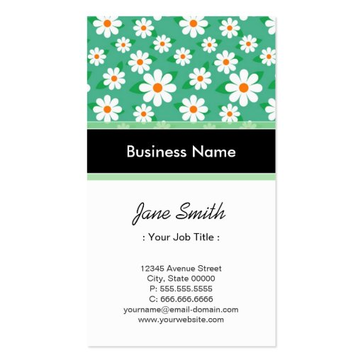 Sports Coach Elegant Green Daisy Pattern Business Card Template