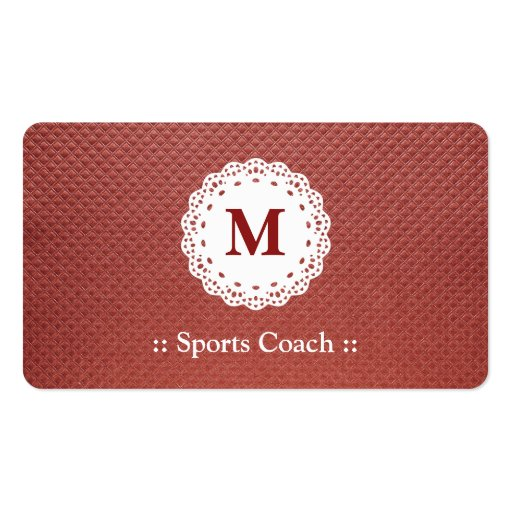Sports Coach Lace Monogram Brown Pattern Business Card