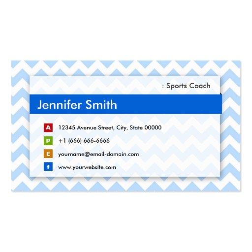 Sports Coach - Modern Blue Chevron Business Card