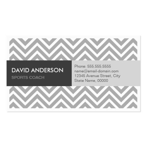Sports Coach - Modern Grey Chevron Business Cards