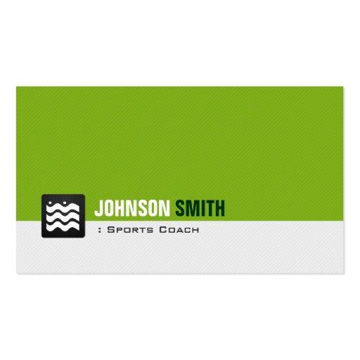 Sports Coach - Organic Green White Business Card Templates
