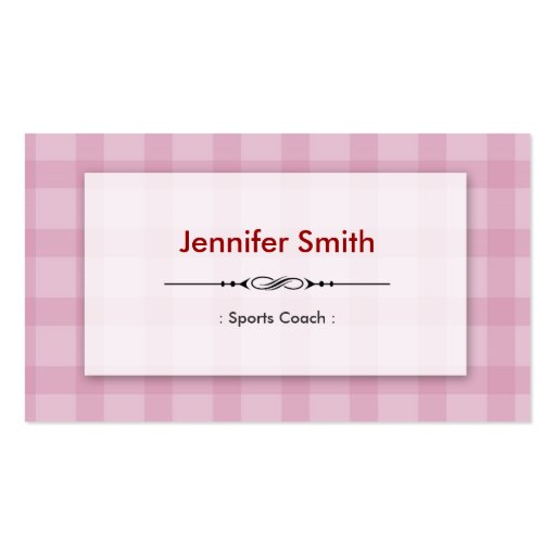 Sports Coach - Pretty Pink Squares Business Cards