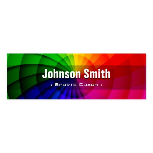 Sports Coach - Radial Rainbow Colors Business Card Templates