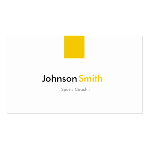Sports Coach - Simple Amber Yellow Business Card