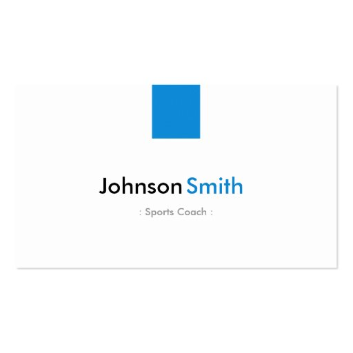 Sports Coach - Simple Aqua Blue Business Card Templates