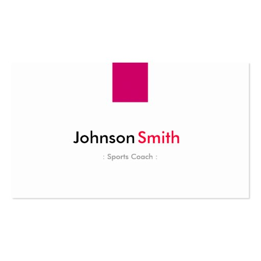 Sports Coach - Simple Rose Pink Business Cards