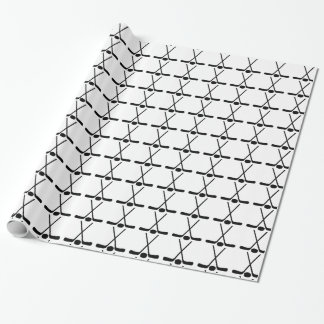 Sports Crossed Hockey Sticks Puck wrapping paper