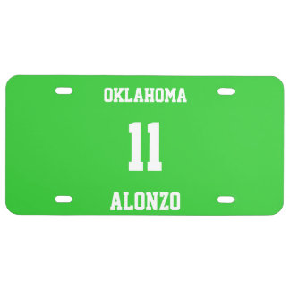 Sports Custom Lime Green License Plate