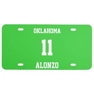 Sports Custom Lime Green License Plate