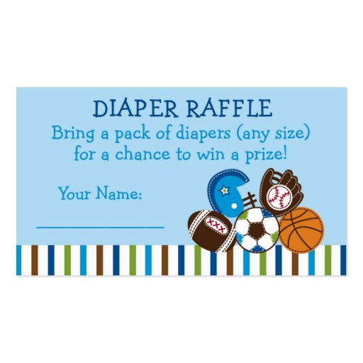 Sports Diaper Raffle Tickets Business Card