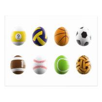 sports easter eggs postcard
