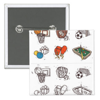 Sports equipment displayed against white button
