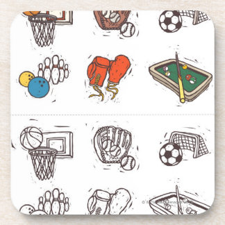 Sports equipment displayed against white coasters