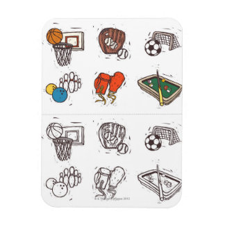 Sports equipment displayed against white magnet
