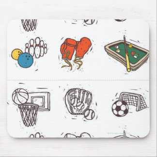 Sports equipment displayed against white mouse pad