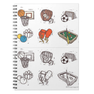 Sports equipment displayed against white notebook