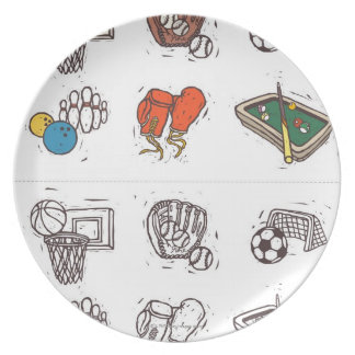 Sports equipment displayed against white plate