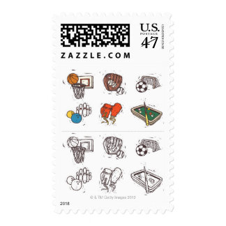Sports equipment displayed against white postage stamp