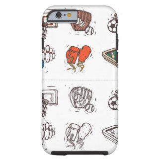 Sports equipment displayed against white tough iPhone 6 case