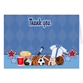 Sports Fan (Blue) Folded Thank you Card