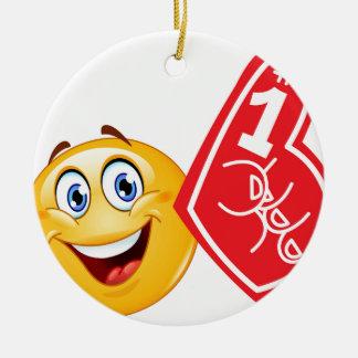 sports fan emoji ceramic ornament