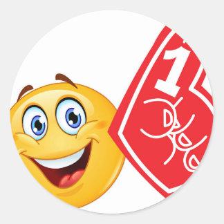 sports fan emoji classic round sticker