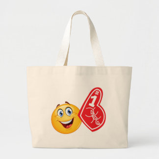 sports fan emoji large tote bag