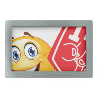sports fan emoji rectangular belt buckle