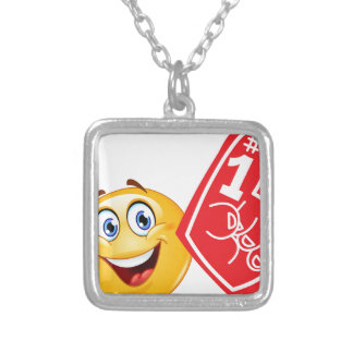 sports fan emoji silver plated necklace