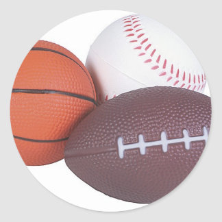 Sports Fan Gifts Basketball Baseball Football Classic Round Sticker