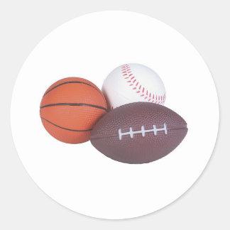 Sports Fan Gifts Basketball Baseball Football Classic Round Sticker