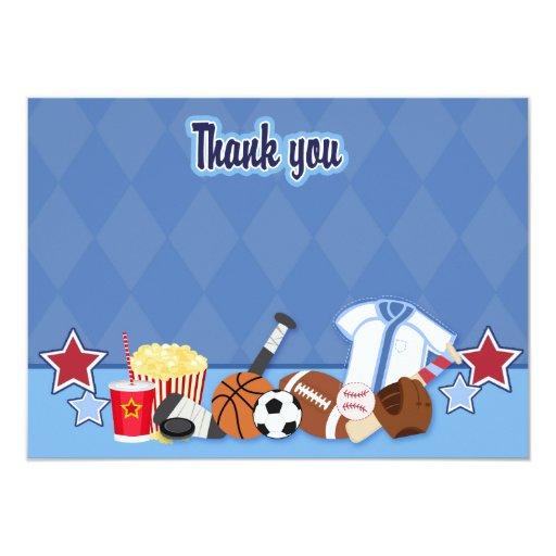 Sports Fan Sport Theme Thank you Card (Blue)
