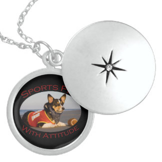 Sports Fan with Attitude Round Locket Necklace