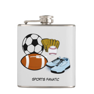 Sports Fanatic animated sporting equipment Hip Flask