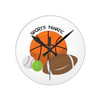 Sports Fanatic Round Clocks