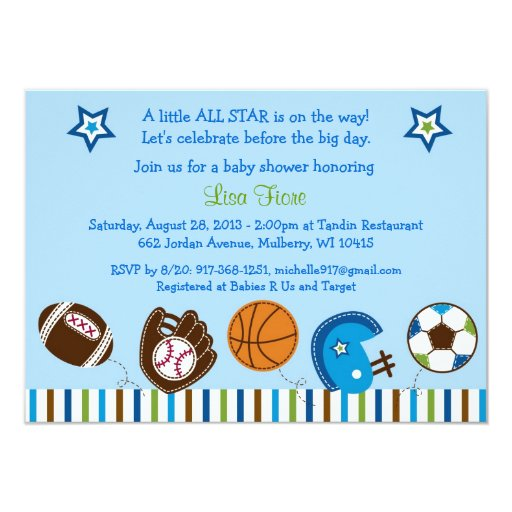 sports football baseball baby shower invitations zazzle