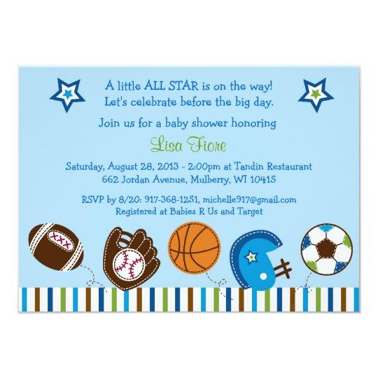 Sports Football Baseball Baby Shower Invitations | Zazzle