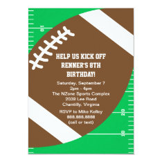 Sports Football Birthday Party Card at Zazzle