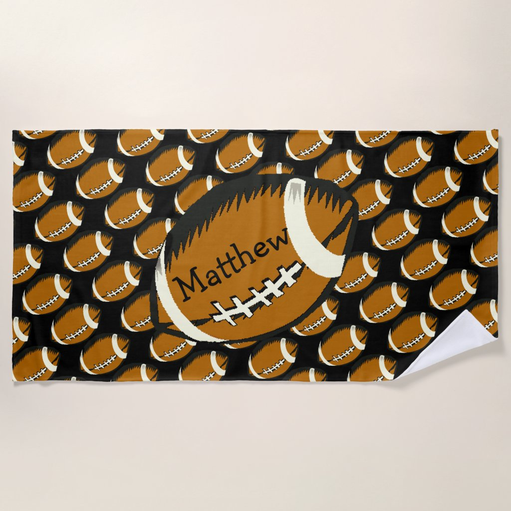 Sports Football Black and Brown Beach Towel