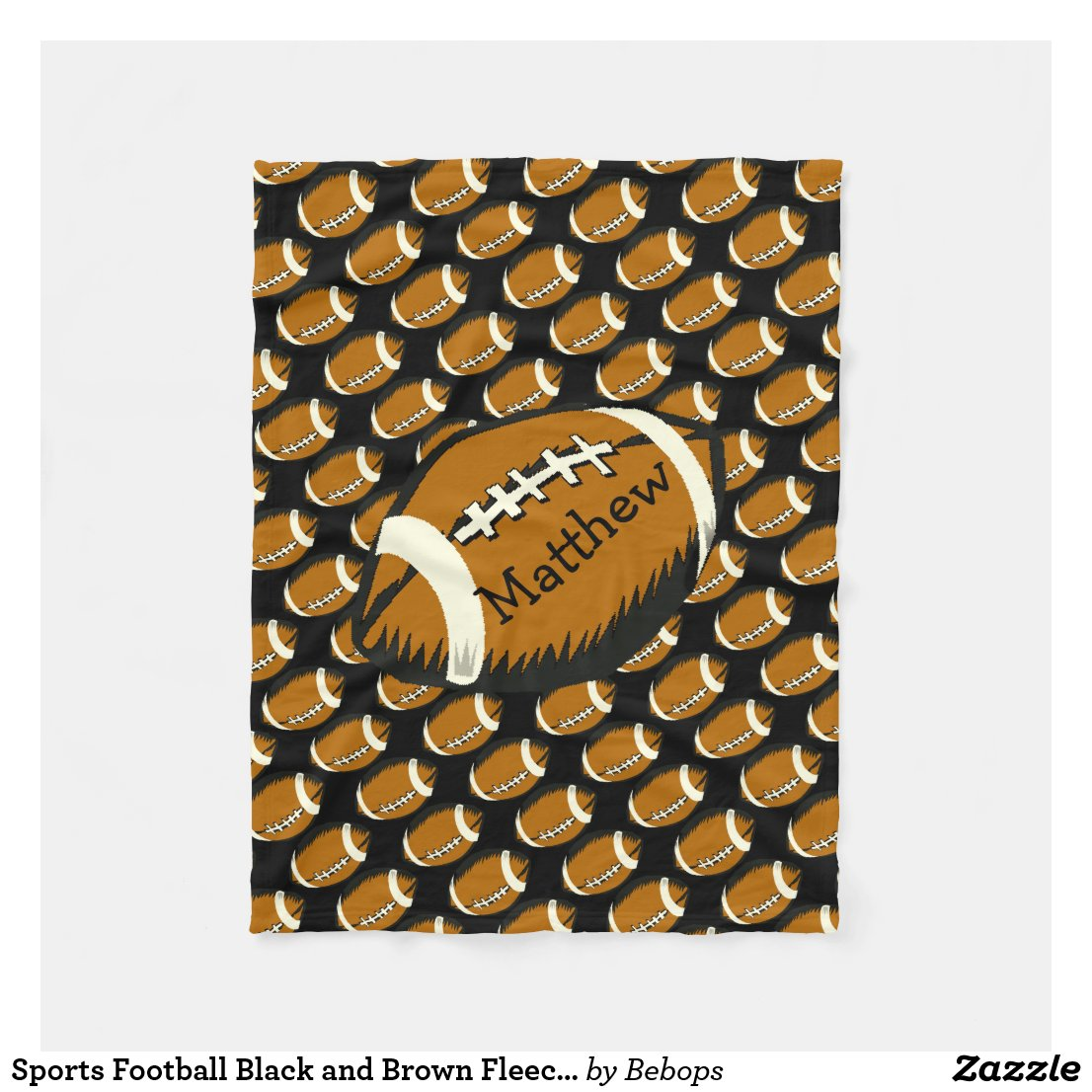 Sports Football Black and Brown Fleece Blanket