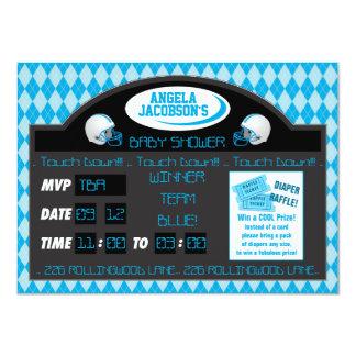 "Sports Football Scoreboard Baby Boy Shower Blue 4.5"" X 6.25"" Invitation Card"