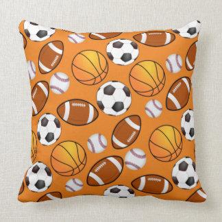 Sports football soccer baseball basketball Pattern Throw Pillow