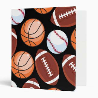 SPORTS FUN Baseball Football Basketball Pattern 3 Ring Binder