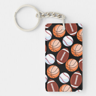 SPORTS FUN Baseball Football Basketball Pattern Double-Sided Rectangular Acrylic Keychain