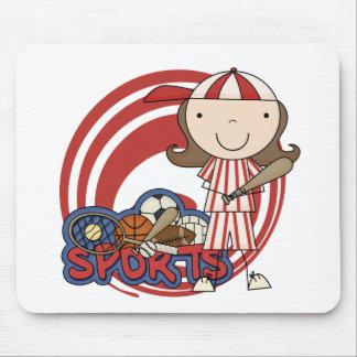 Sports Girl Baseball Tshirts and Gifts Mousepad