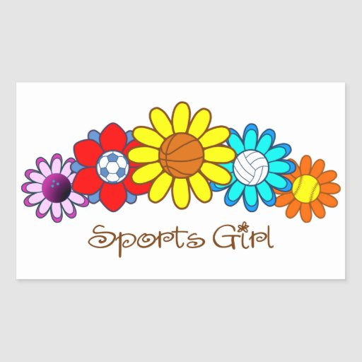 Sports Girl - Basketball Rectangle Stickers